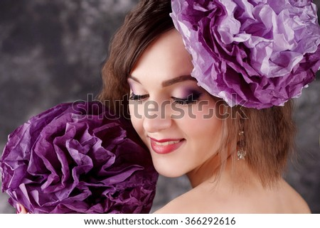 beautiful girl with purple flower