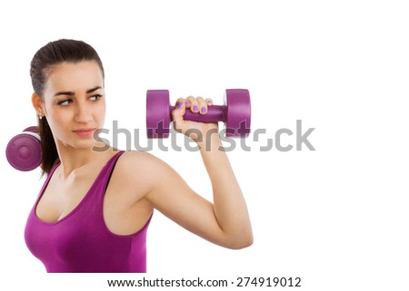 Beautiful girl with purple top and purple dumbbells isolated on white background with copy space. Lady fitness, girls only.
