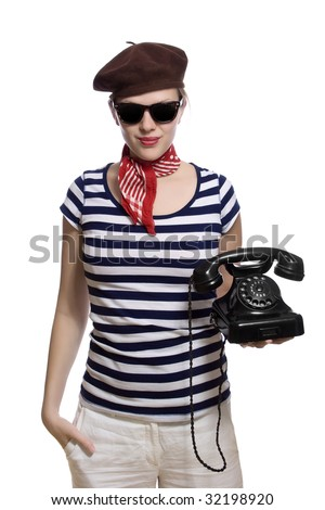 French beret stock photos images pictures shutterstock for French striped shirt and beret
