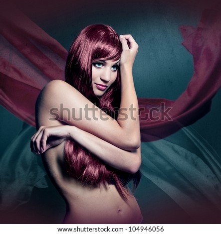 beautiful girl with red colored hair - stock photo