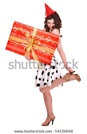 Beautiful girl with red gift box.
