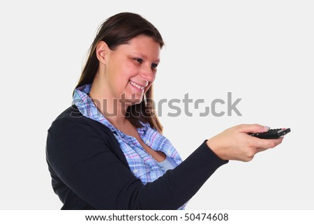 beautiful girl  with remote control - stock photo
