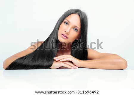 beautiful girl with shiny black hair. fashion model - stock photo