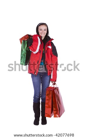 Beautiful Girl with Shopping Bags - Isolated White Background - stock photo