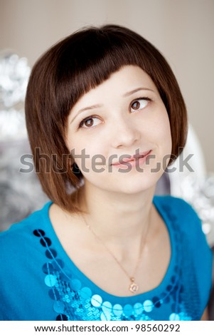 Beautiful girl with short hair - stock photo