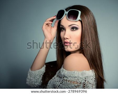 Beautiful girl with sun glasses. Sexy woman. Fashion girl.  - stock photo