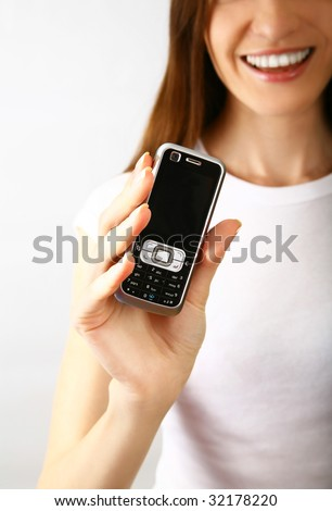 Beautiful girl with telephone