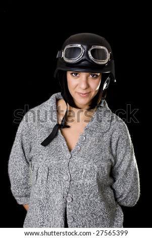 beautiful girl with US Army-style motorcycle helmet with goggles - stock photo