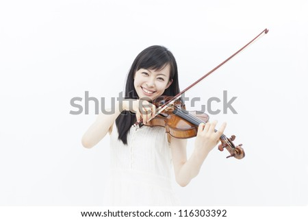 beautiful girl with violin isolated on white background