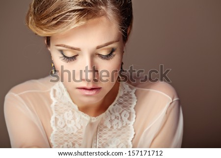 Beautiful girl with visage - stock photo