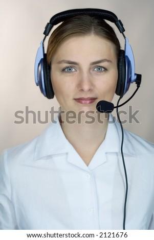 beautiful girl (woman) with headset - stock photo