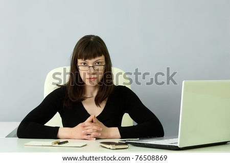 beautiful girl working in the office - stock photo