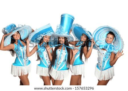beautiful girls dancing in blue hats - stock photo