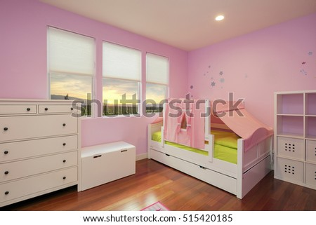 Beautiful Girls Room In Bright Pink Color With Furniture, Wooden Floor And  Sunset. Fancy