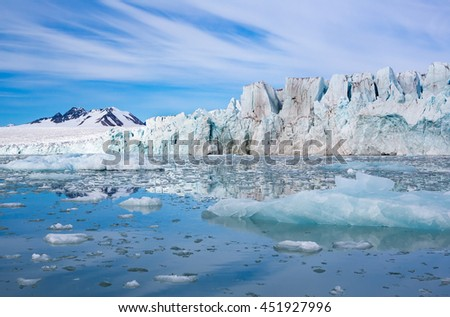 Beautiful glacier and ice filled waters of Svalbard, Norway
