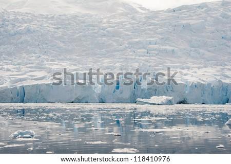 Beautiful glacier in Antarctic waters - stock photo