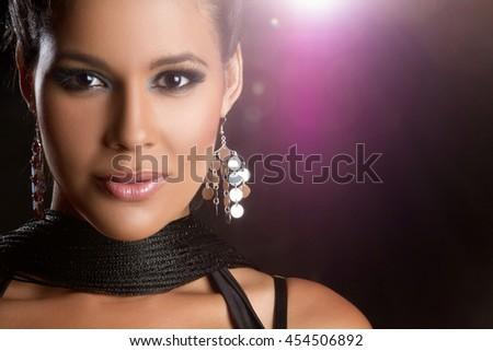 Beautiful glamorous latin woman closeup - stock photo