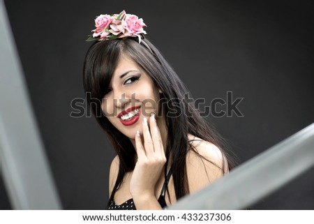 beautiful glamour woman smiling with circlet in her hair