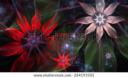 Beautiful glowing modern high resolution flower background with a detailed flower pattern with plastic natural looking 3D leaves, all in high resolution and in red,green,silver,blue - stock photo