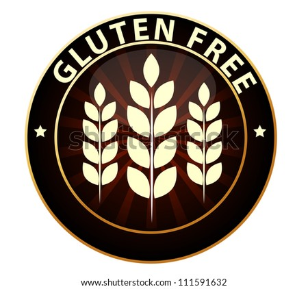Beautiful Gluten free food packaging sign. Can be used as a stamp, emblem, seal, badge etc. Isolated on a white background. - stock photo