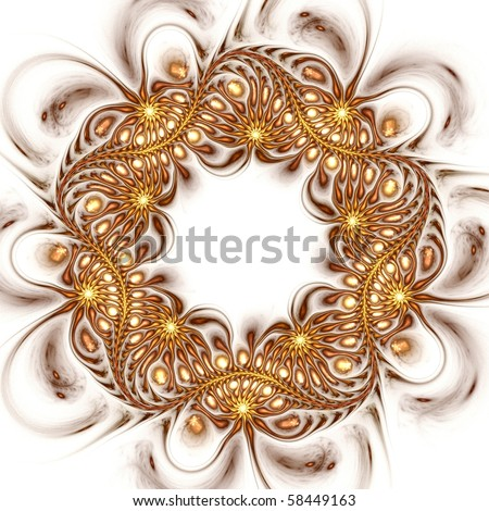 Beautiful gold wreath of teardrops and spirals with blank space for text. Suitable for business and birthday cards, art projects, banners or brochures. - stock photo