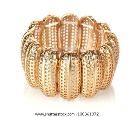 Beautiful golden bracelet isolated on white - stock photo