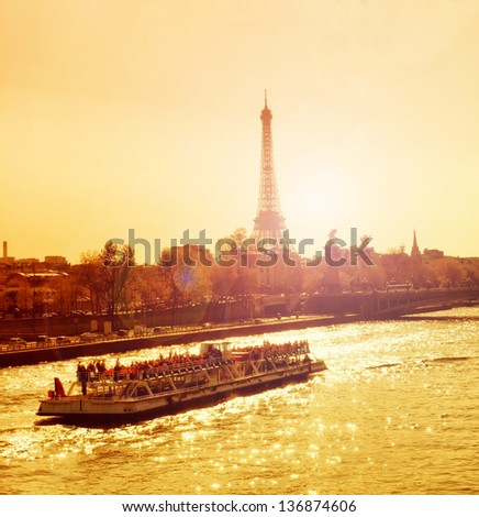 Beautiful golden sunset in Seine river, Paris, France - stock photo