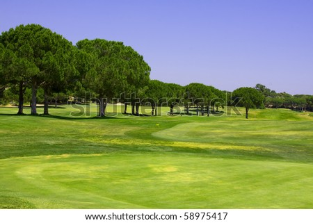 Beautiful golf course against a clear blue sky