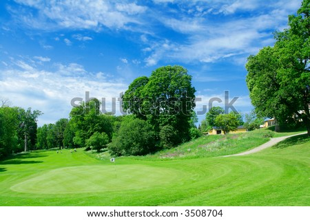 Beautiful golf course in Swedish country side - stock photo