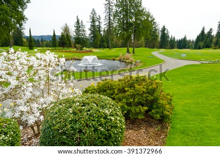 Beautiful  golf course.  Vancouver, Canada. - stock photo