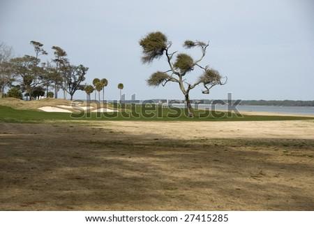Beautiful golf hole - stock photo