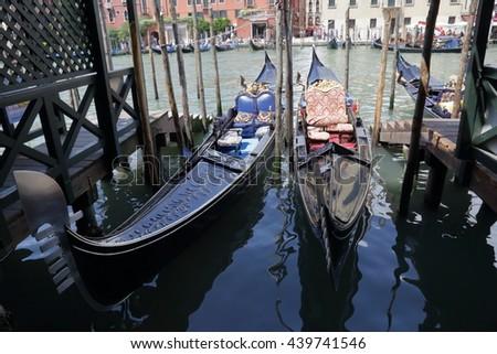 Beautiful gondolas parked on Grand Canal. Venice, Italy - stock photo