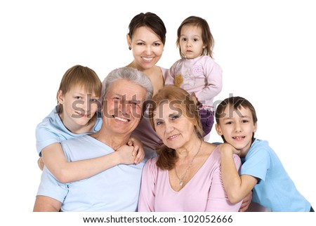 Beautiful good Caucasian large family on a isolate background
