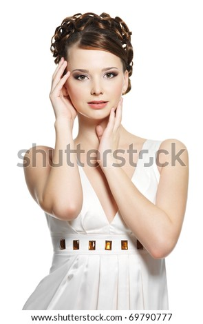 Beautiful gorgeous  woman with short curly hairstyle. On white background - stock photo