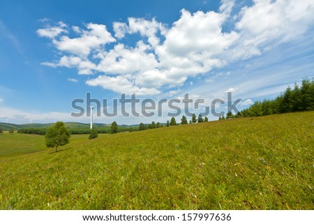 beautiful grassland landscape in summer, Chengde, Hebei Province, north china - stock photo