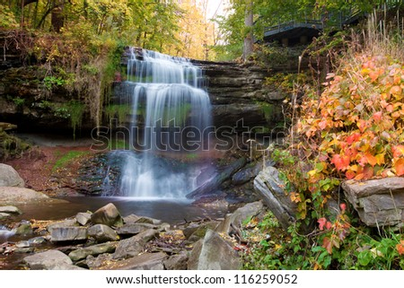 Beautiful Great falls in Hamilton in fall colors - stock photo