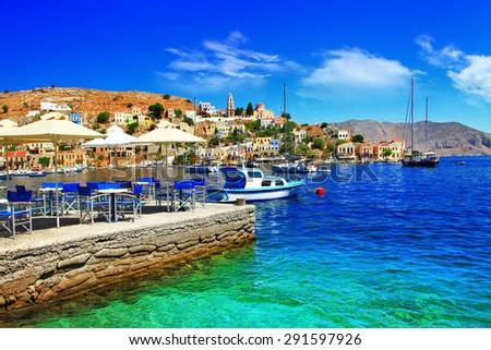 beautiful Greek island Symi. Dodecanes - stock photo
