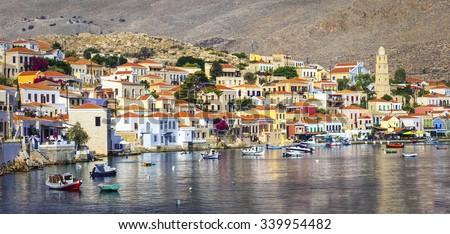 beautiful Greek islands - Chalki in Dodecanese - stock photo
