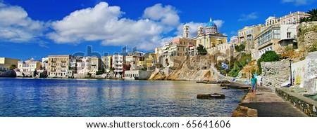 beautiful Greek islands series - Syros panorama - stock photo