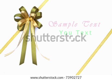 Beautiful green and gold bow on white background - stock photo