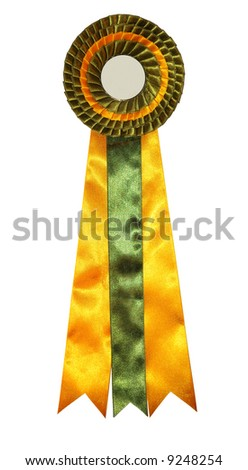 beautiful green and yellow ribbon without an inscription - stock photo