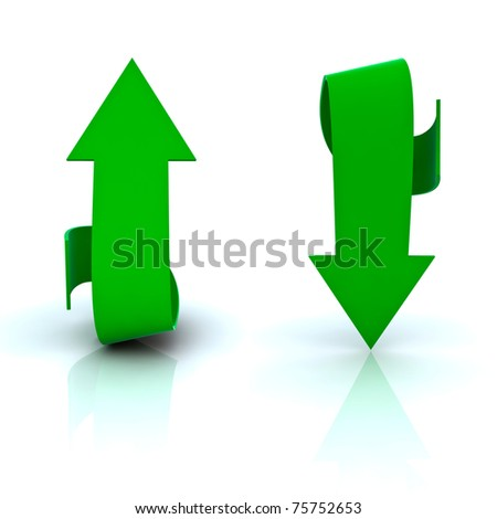 Beautiful green arrows in both directions, up and down. - stock photo