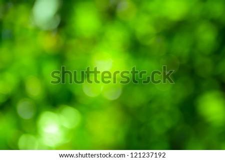 Beautiful green bokeh. Bright natural background. - stock photo