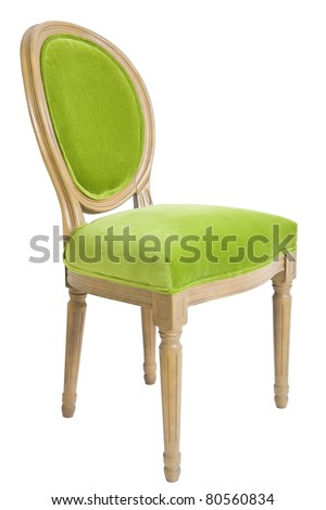 beautiful green chair on a white background - stock photo