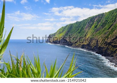 Beautiful green coast line of Sao Miguel, Azores, Portugal Europe - stock photo