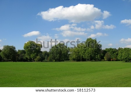 beautiful green field, blue sky and white clouds - stock photo