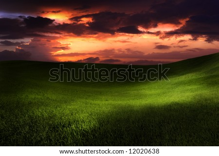 Beautiful green meadow with sunset clouds