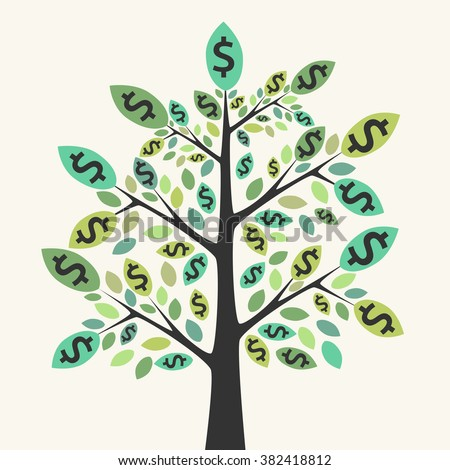 Beautiful green money tree. Business success, wealth, investment, achievement, prosperity, profit, income, earnings concept - stock photo