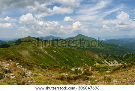 beautiful green mountain landscape in Carpathians. Ukraine - stock photo