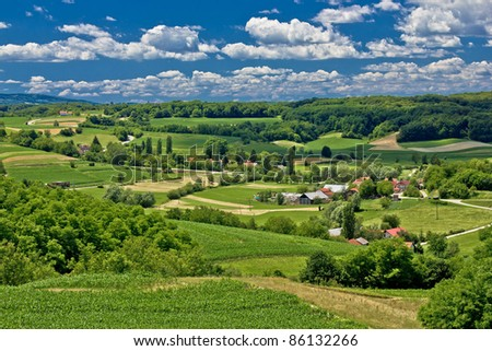 Beautiful green scenery landscape in spring time, village of Zaistovec, Croatia - stock photo